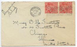 Australia 1925 Cover Brisbane To Chicago IL Scott 26 KGV Pair - 1913-36 George V: Heads