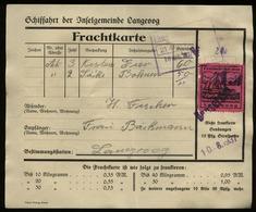 S7140 - Schiffahrt Langeoog Frachtkarte Mit Frachtmarke Inselgemeinde: Gebraucht Bensersiel - Langeoog 1937 , Bedarfse - Allemagne