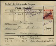 S7139 - Schiffahrt Langeoog Frachtkarte Mit Frachtmarke Inselgemeinde: Gebraucht Bensersiel - Langeoog 1937 , Bedarfse - Allemagne
