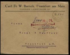 S7107 - DR Infla Firmen Briefumschlag Gebühr Bezahlt : Gebraucht Frankfurt Main  8.1923 , Bedarfserhaltung , Gefaltet. - Lettres & Documents