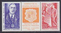 Andorra Fr. 1990 General De Gaulle Strip 2v+label ** Mnh (41607) - Frans-Andorra