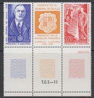 Andorra Fr. 1990 General De Gaulle Strip 2v+label (margin) ** Mnh (41607A) - Frans-Andorra