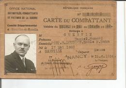 CARTE DU COMBATTANT NANCY  PONT A MOUSSON - Documents