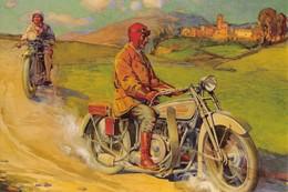 "08983 ""MOTO ANNI 1920 - BOZZETTO PER CARTOLINA ILLUSTRATA"" ANIMATA. . CART ILLUSTR. ORIGINALE - Motos"