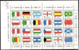 SALVADOR  Feuillet   PA 497/20  * *     Cup 1982     Football  Soccer Fussball Drapeaux - World Cup