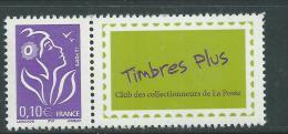 """France T.P. Personnalisés N°3916A XX Marianne De Lamouche 0.10 Violet  Avec Vignette """"Timbre Plus""""  Ss Ch.,TB - Personalized Stamps"""