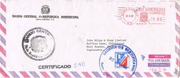 31035. Carta Aerea Certificada SANTO DOMINGO (Republica Dominicana) 1986. Banco Central - República Dominicana