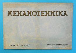 MEHANOTEHNIKA ( Izola ) - Yugoslavia Old Catalogue For Box No.1 * Toys Toy Jouets Spielzeug Giocattoli Juguetes Slovenia - Toy Memorabilia