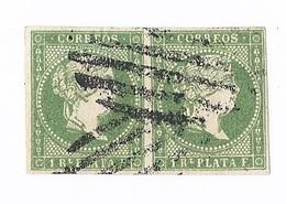 ESPAGNE Lot 4 Timbres Postes 2 Paires Colonie Espagnole ESABEL II Correos 1 Real De PLATA Vert  Et 1/2 Bleu Timbre Poste - Oblitérés