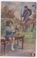 26539 Guerre 1914 1918 Dessin Soldat Petite Fille Fleurs - éd : LVC V1 - War 1914-18