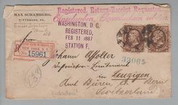USA 1887-12-02 Pittsburg R-Brief Rückschein Mit 2x 10 Cent Nach Leuzigen Bern - 1847-99 Emissions Générales