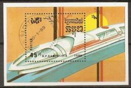 Kampuchea  1989  SG  967  Trains And Trams Miniature Sheet  Fine Used - Kampuchea