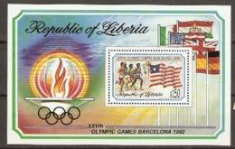 Liberia   1992  SG  1819    Olympics  Miniature Sheet Unmounted Mint - Liberia