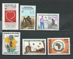 COTE IVOIRE Scott 854, 855, 856, 847, 862, B18 Yvert 801, 802, 808, 799, 815, 814 (6) ** Cote 12,75 $ 1988 - Côte D'Ivoire (1960-...)