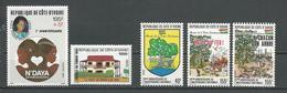 COTE IVOIRE Scott B19, 853, 863-865 Yvert 819, 800, 816-818 (5) ** Cote 9,50 $ 1988 - Côte D'Ivoire (1960-...)