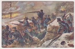 26550 Guerre 1914 1918 Dessin Soldat Tranchée Fusil Combat Argonne -éd LVC Z6 - War 1914-18