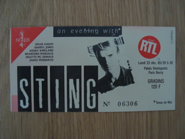 TICKET D'ENTREE STING LUNDI 23 DECEMBRE 1985 PARIS BERCY - Tickets D'entrée