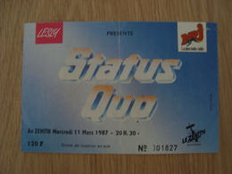TICKET D'ENTREE STATUS QUO MERCREDI 11 MARS 1987 ZENITH - Tickets D'entrée