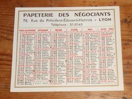 Calendrier 1963.Papeterie Des Négociants. Lyon. - Calendriers