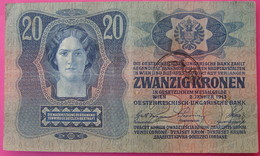 FIUME - RIJEKA 20 KRONEN ND 1918 (OLD DATE 1913), ITALY, CROATIA, AUSTRIA, HUNGARY, SEAL ON OBVERSE, ORIGINAL SEAL, RARE - Autriche