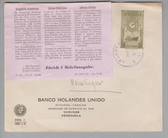 Venezuela Ca. 1960 Brief Nach Zürich Vermerk Etiquette - Venezuela