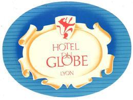 ETIQUETA DE HOTEL  - HOTEL DU GLOBE  -LYON  -FRANCIA - Etiquetas De Hotel