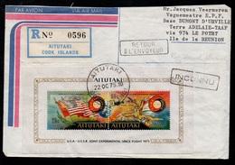 AITUTAKI - COOK ISLANDS / 1975 LETTRE RECOMMANDEE PAR AVION POUR LES TAAF VIA LA REUNION (ref LE2951) - Aitutaki