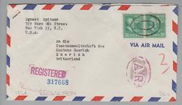 USA 1947-11-20 New York Rückschein Brief Nach Zürich - Etats-Unis