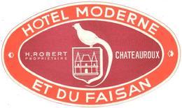 ETIQUETA DE HOTEL  - HOTEL MODERNE ET DU FAISAN  -CHATEAUROUX  -FRANCIA - Etiquetas De Hotel