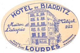 ETIQUETA DE HOTEL  - HOTEL DE BIARRITZ  -LOURDES  -FRANCIA - Etiquetas De Hotel