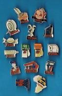15 PIN'S // ** CARBURANT ET DÉRIVÉS TOTAL // OBELIX / ASTERIX / IDEFIX / PARIS LE CAP / LE DAKAR, Etc...** - Badges
