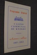 Jazz,Casino De Knokke 1961-1962,programe, Originale - Photos