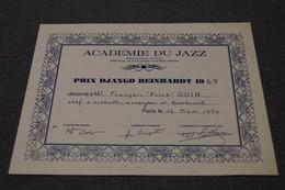 Jazz Accadémie De Jazz,prix Django Reinhardt 1969 ,François Guin ( Frick ) Originale - Photos