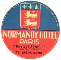 ETIQUETA DE HOTEL   -NORMANDY HOTEL   -PARIS - Etiquetas De Hotel