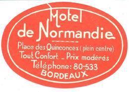 ETIQUETA DE HOTEL   -HOTEL DE NORMANDIE  -BORDEAUX  -FRANCIA - Etiquetas De Hotel