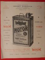 """Publicité Originale 22 X 27 Huile """"Valvoline"""" Pour Automobiles Et Camions  Ets Henry HAMELLE  (3 Scans) - Publicités"""