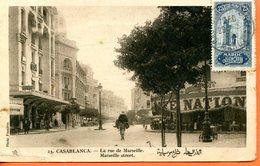 """Maroc,CPA 1923 """" Casablanca,la Rue De Marseille""""Morocco;Marruecos - Marokko (1891-1956)"""