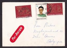 Rwanda: Airmail Cover To Belgium, 1970s, 3 Stamps, Olympics, Boxing, Sports, Hairdress, Rare Air Label (minor Damage) - Rwanda