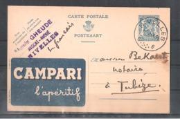 """EP Belgique Publibel """" Campari L'apéritif """" - Nivelles 1944 - Louis Gheude Avocat - Entiers Postaux"""