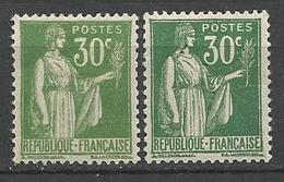 TYPE PAIX N° 280 X 2 Nuances NEUF* CHARNIERE / MH - 1932-39 Paix