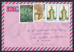 Rwanda: Airmail Cover To Switzerland, 2005, 4 Stamps, Flower, Plant, Porcupine Animal, Cardinal (traces Of Use) - Rwanda