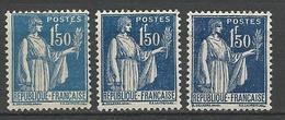 TYPE PAIX N° 288 X 3 Nuances NEUF* Trace De CHARNIERE / MH - 1932-39 Paix