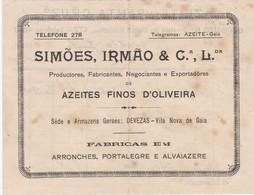 PORTUGAL COMMERCIAL DOCUMENT - PORTO - AZEITE FINO D'OLIVEIRA - AZEITE SANTA CRUZ - Portugal