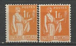 TYPE PAIX N° 286 Type 1 Et 2 à Gauche NEUF* Trace De CHARNIERE / MH - 1932-39 Paix