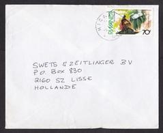 Rwanda: Cover To Netherlands, 1990s, 1 Stamp, Environment, Flower (minor Crease) - Rwanda