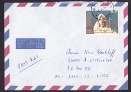 Rwanda: Airmail Cover To Netherlands, 1991, 1 Stamp, Pope John Paul II, Religion (damaged) - Rwanda