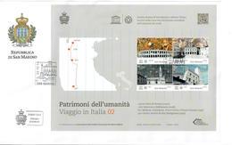 SAN MARINO 2014 - VIAGGIO IN ITALIA - 2^ SERIE - UNESCO - FOGLIETTO - FDC - FDC
