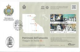SAN MARINO 2013 - VIAGGIO IN ITALIA - 1^ SERIE - UNESCO - FOGLIETTO - FDC - FDC