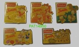 FINDUS JUNIOR DONALD & LES CASTORS JUNIORS DISNEY Lot De 5 Pin's Differents - Food