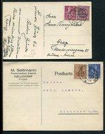 Deutsches Reich / 1922 Ff. / 2 Karten Je Mit Int. Infla-MiF, Bahnpost-Stempel Und Steg-Stempel Travemuende (4/298) - Allemagne